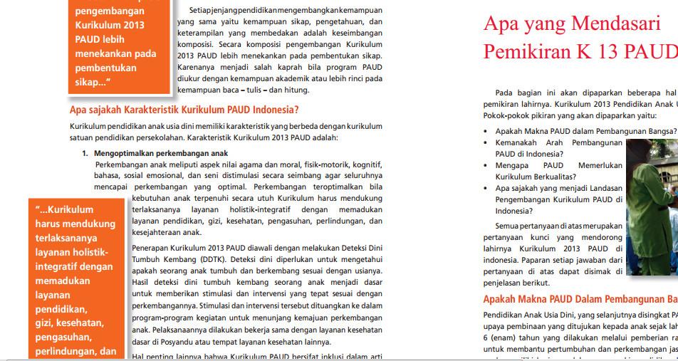 Download Buku Kurikulum 2013 untuk Pendidikan Anak Usia Dini (PAUD) Tahun 2016-2017 Format PDF
