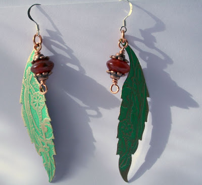 Sylvana: brass, sterling silver, copper, carnelian, etching, OOAK earrings :: All Pretty Things