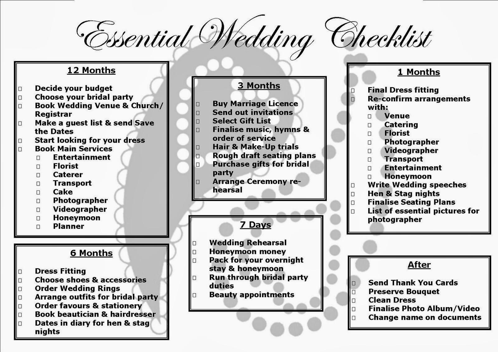 Free Printable Wedding Budget Checklist