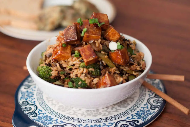 Stir fried tofu with rice fast and healthy veg recipe