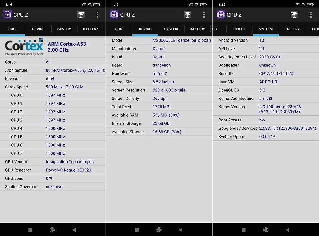 Xiaomi Redmi 9A CPU-Z Info