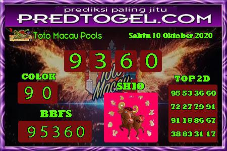 Pred Macau Sabtu 10 Oktober 2020