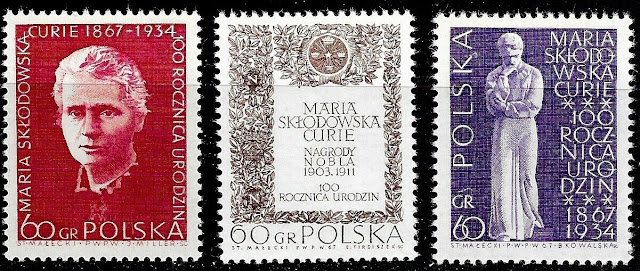 1967 Poland full set 3 stamps Birth Centenary of Marie Curie