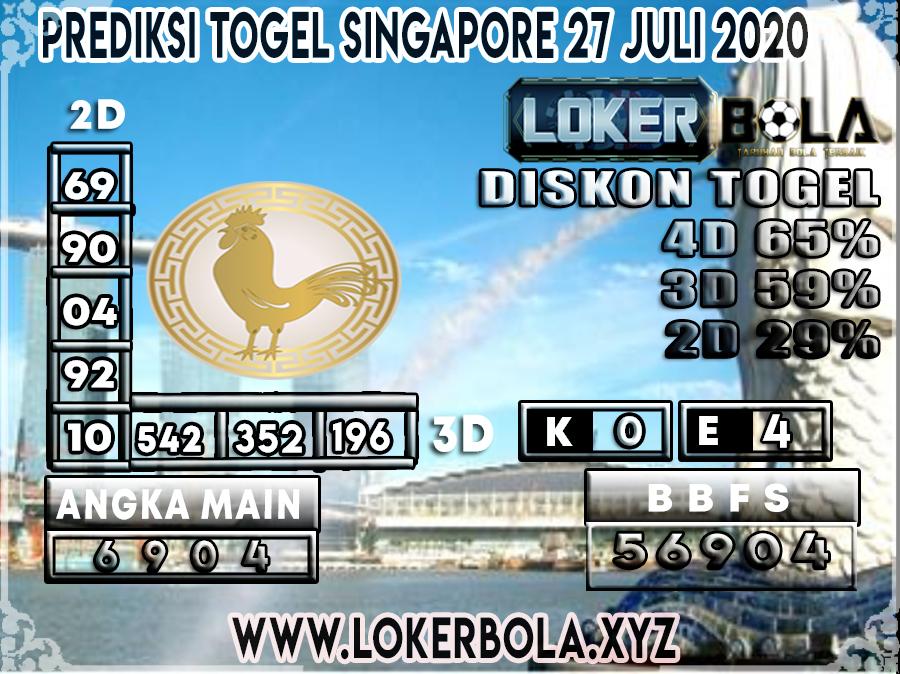 PREDIKSI TOGEL LOKERBOLA SINGAPORE 27 JULI 2020