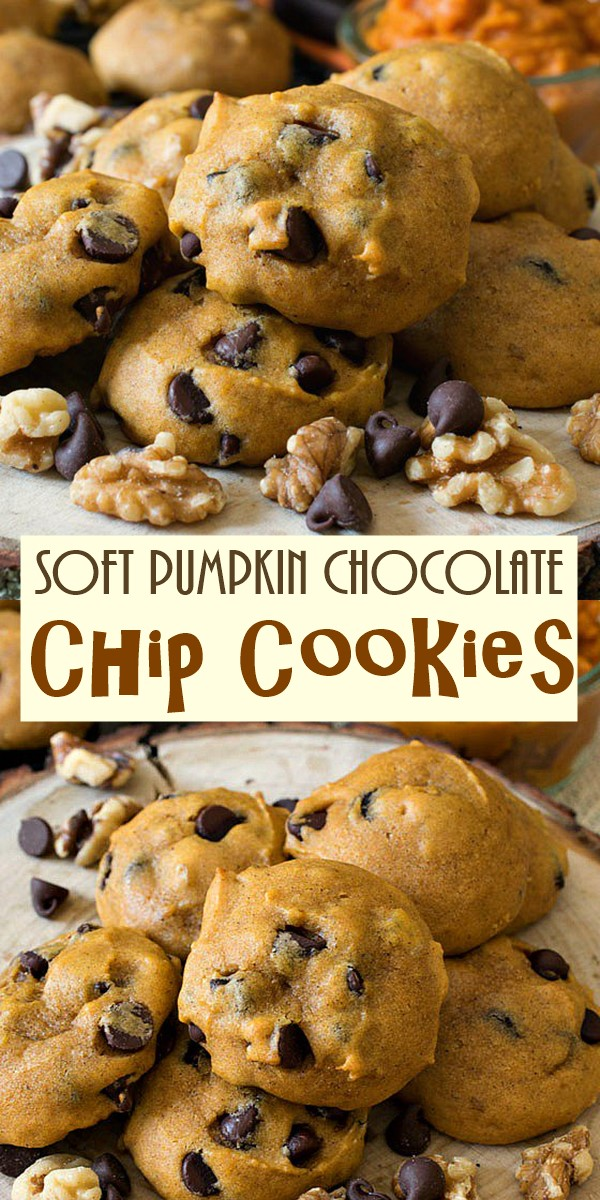 Soft Pumpkin Chocolate Chip Cookies #cookiesrecipes