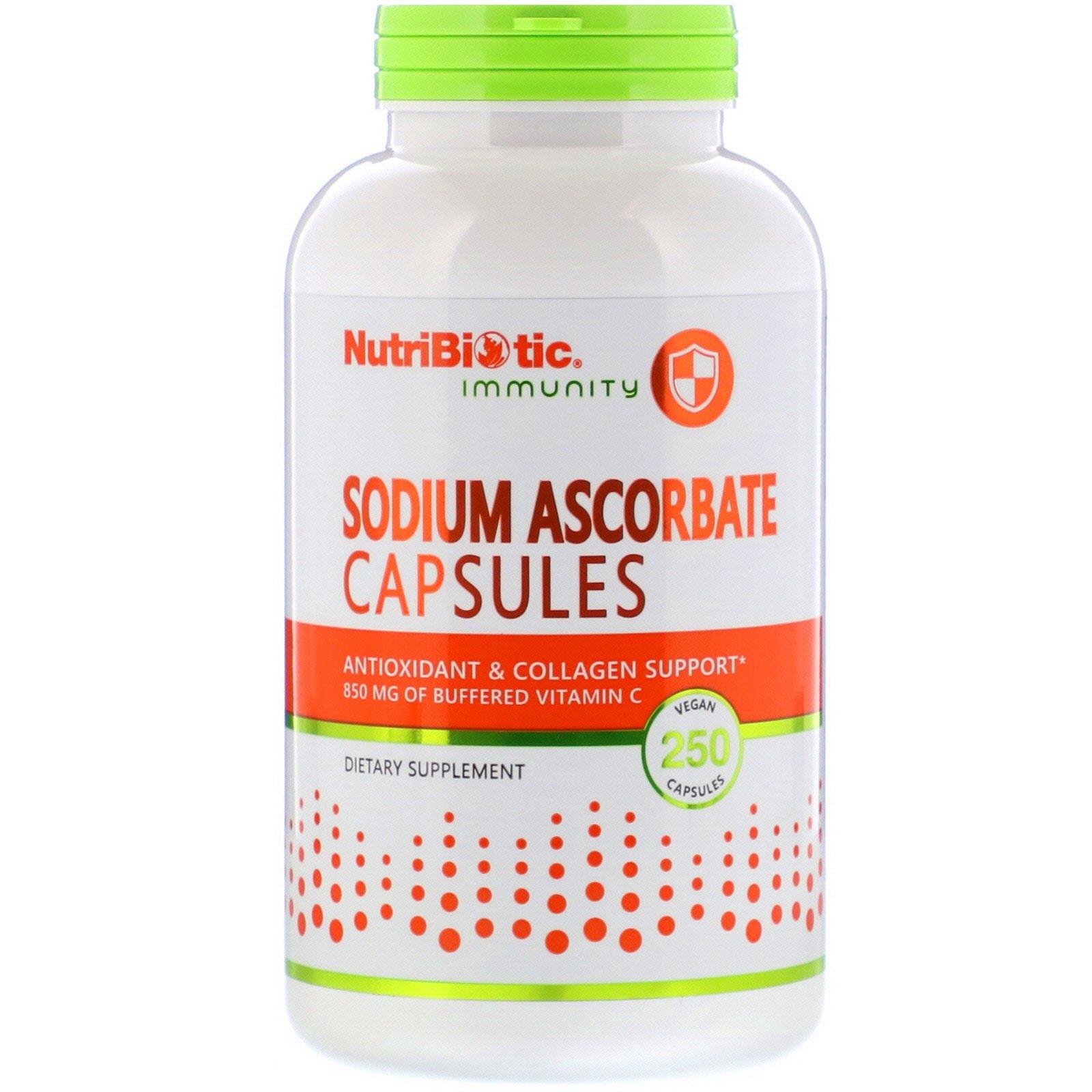 NutriBiotic, Immunity, аскорбат натрия, 250 растительных капсул