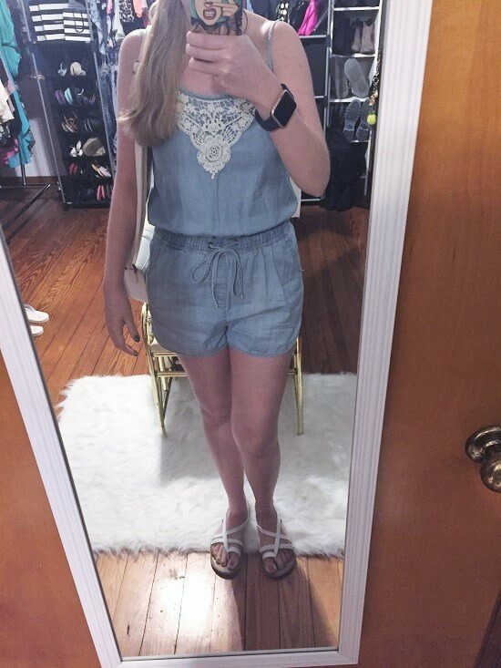 denim romper outfit of the day