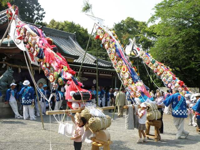 Makura Matsuri as colorful carp banners, at Hine-Jinja Shrine, Izumisano City, Osaka