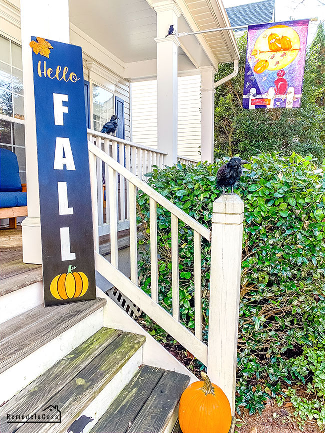 Hello Fall sign on front porch
