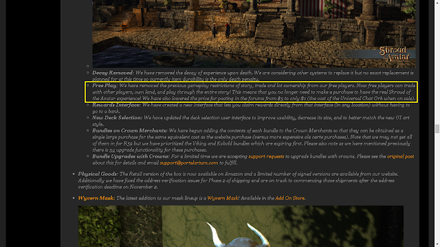 Free Play: We have removed the previous gameplay restrictions of story, trade and lot ownership from our free players. Now free players can trade with other players, own land, and play through the entire story! This means that you no longer need to make a purchase to have the real Shroud of the Avatar experience!