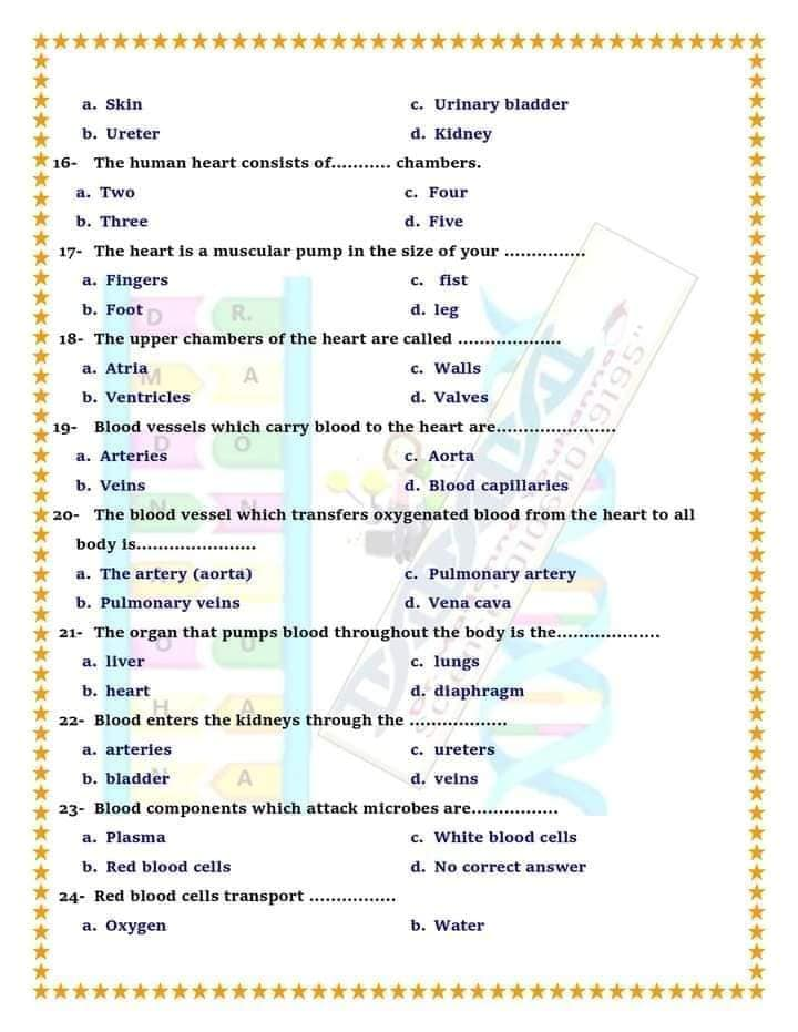 """مراجعة علوم لغات """"Science"""" للصف الخامس الترم الثاني أسئلة إختيار من متعدد بالإجابات  4"""