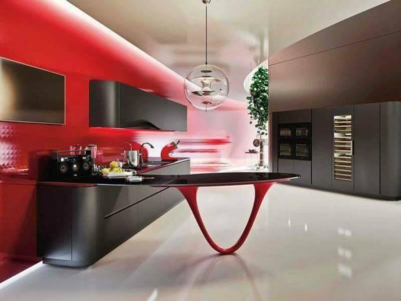 Desain Dapur Mewah Elegant Nuansa Merah 21