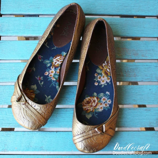 Rub 'N Buff European Gold Upcycled Ballet Flats DIY