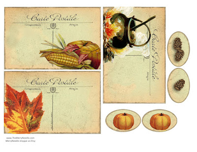 Free printable colorful old time postcards ephemera Victorian autumn