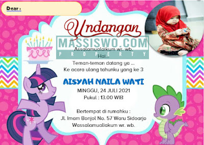 undangan ultah untuk anak perempuan