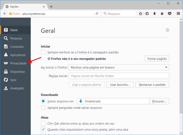 Firefox - Opções