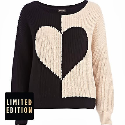 River Island Black Rib Color Block Heart Jumper