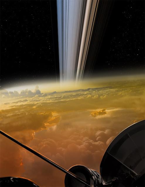 ilustração artistica da sonda Cassini mergulhando em Saturno