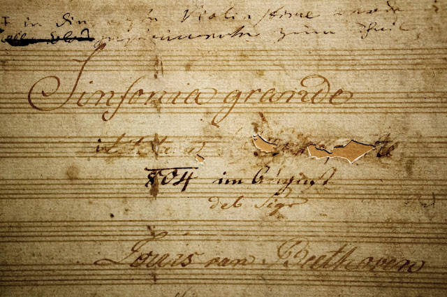 Titlepage of ms. of the Eroica Symphony, with Napoleon's name scored through by the composer
