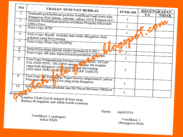 Contoh Surat Pernyataan, Lembar Check List Map, Formulir Pendaftaran Peserta Sertifikasi Guru PAI 2016