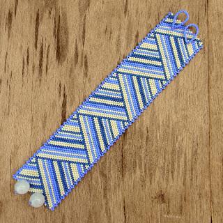 купить украшения из бисера браслеты полосатые летние широкие на руку