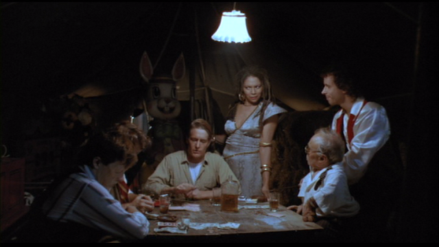 The traveling circus in FROM A WHISPER TO A SCREAM (1987).
