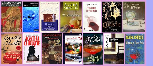 Portadas de la novela de suspense Tragedia en tres actos, de Agatha Christie