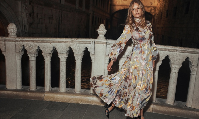 Anna Ewers wears Zimmermann Tempo swing maxi dress in the brand's fall 2021 campaign.
