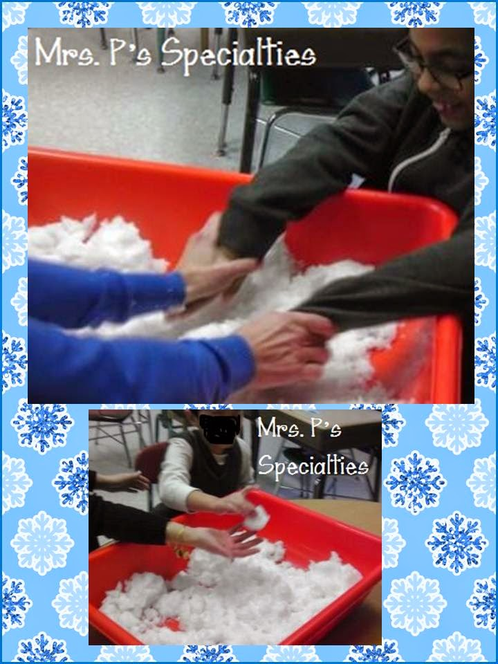photos of student playing in sensory bin full of snow