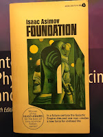 Foundation,  by Isaac Asimov, superimposed on Intermediate Physics for Medicine and Biology.