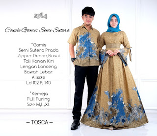 Model Baju Batik Gamis Couple D2384 Semisutera
