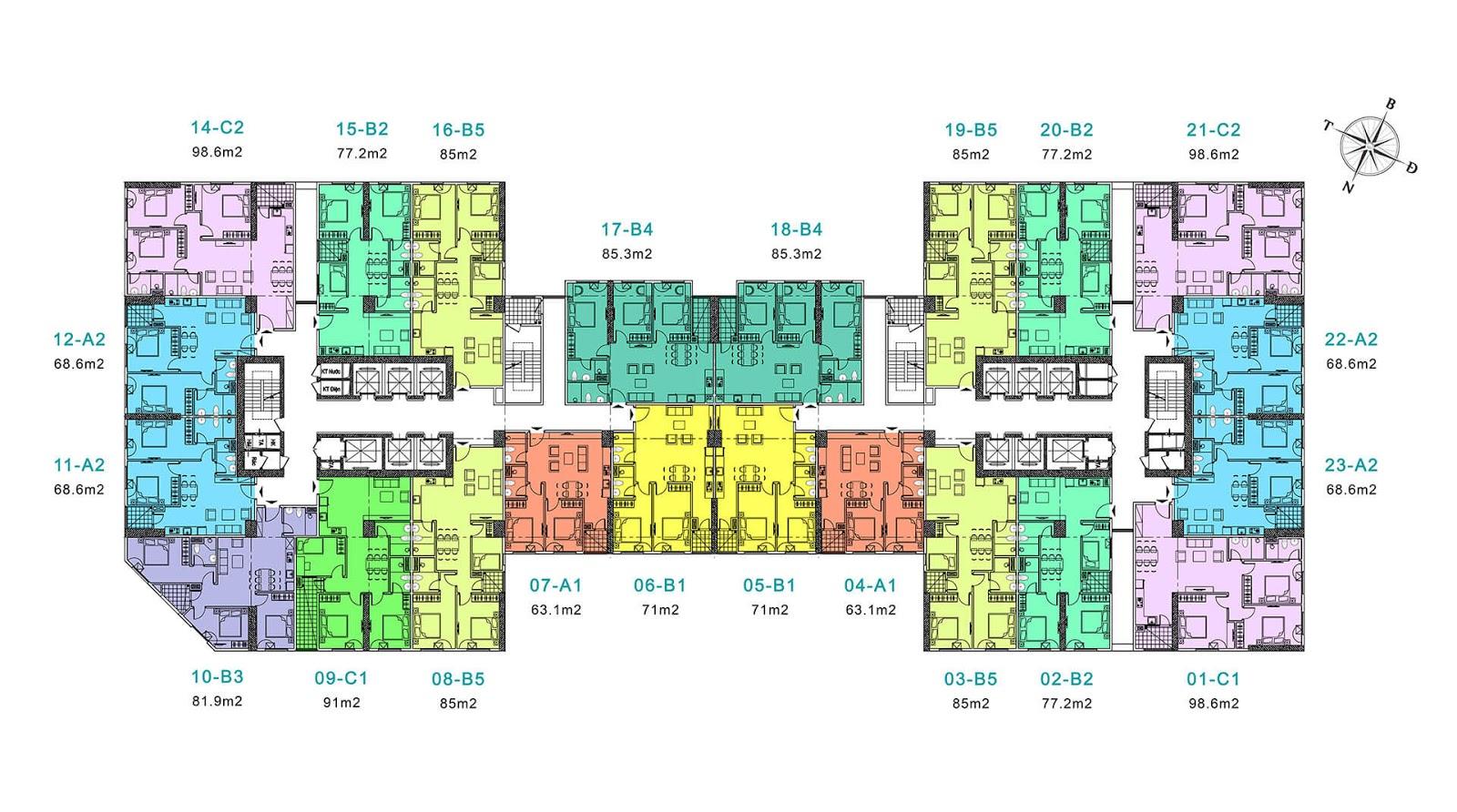 Mặt bằng tầng điển hình dự tòa River tầng 7 đến 39 - Eurowindow River Park