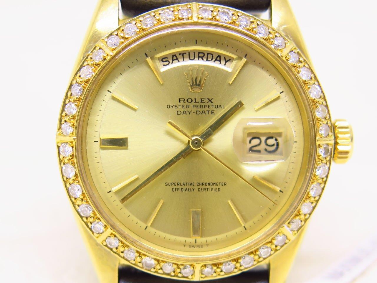 ROLEX OYSTER PERPETUAL DAY DATE DOOR STOP DIAL GOLD CASE - DIAMOND BEZEL - ROLEX 1803 DAY DATE