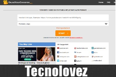 OnlineVideoConverter - Sito web per scaricare musica e video Gratis da YouTube e da molti altri siti