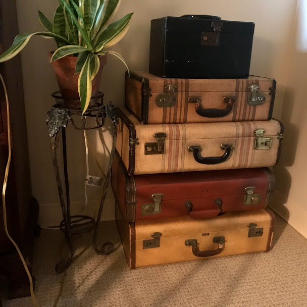 stack of vintage suitcases as home decor