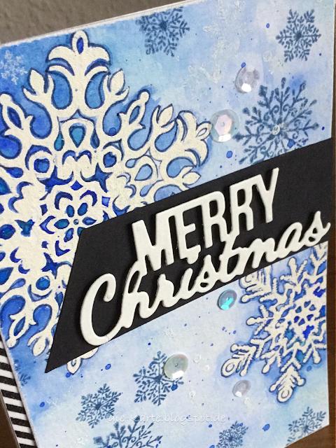 """Schneeflocken Stempel und La Blanche, """"Merry Christmas"""" ,  """"13x Frohe Weihnachten"""" Klartext Stempel"""
