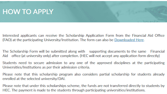 How to apply for Need based scholarship