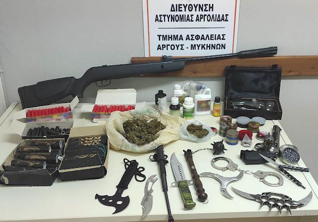 Συνελήφθη στην Αργολίδα για ναρκωτικά, όπλα και κροτίδες