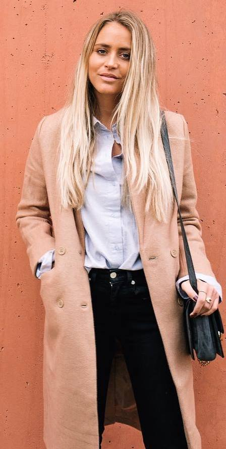 fall fashion inspiration: coat + shirt + bag + black jeans