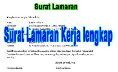 Surat Lamaran Kerja lengkap Bahasa Indonesia, Inggris di perusahaan
