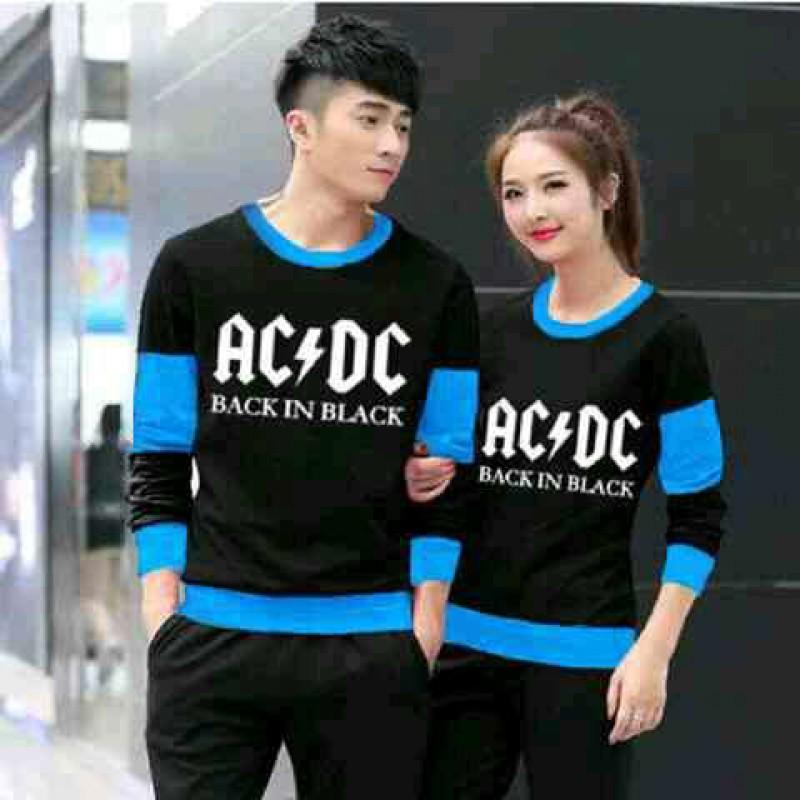Jual Online Sweater ACDC Black Turquise Couple Murah Jakarta Bahan Babytery Terbaru