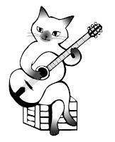 דף צביעה חתול מנגן על גיטרה