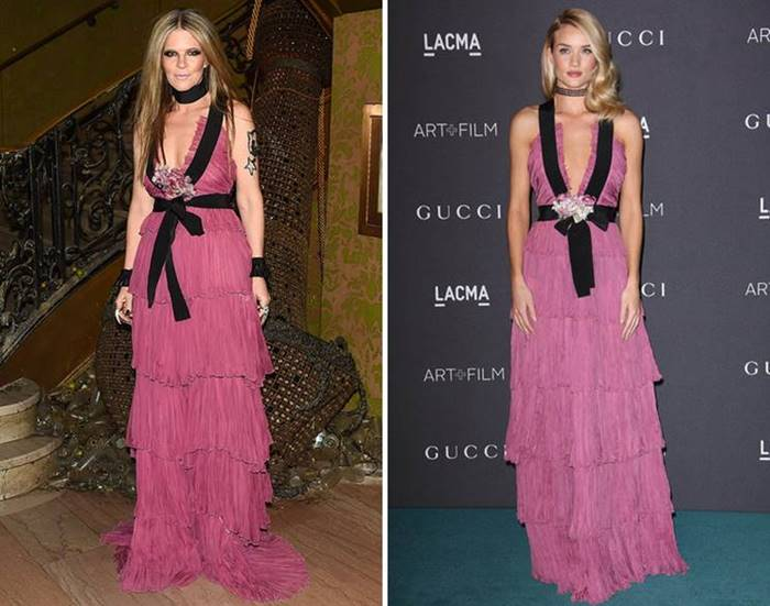 "Two stars filed Gucci's airy pink dress in completely different ways: Yvonne chose a fateful look with contrasting accessories and smoky eyes , while Rosie , on the contrary , ""voted"" for tenderness with a touch of make-up."