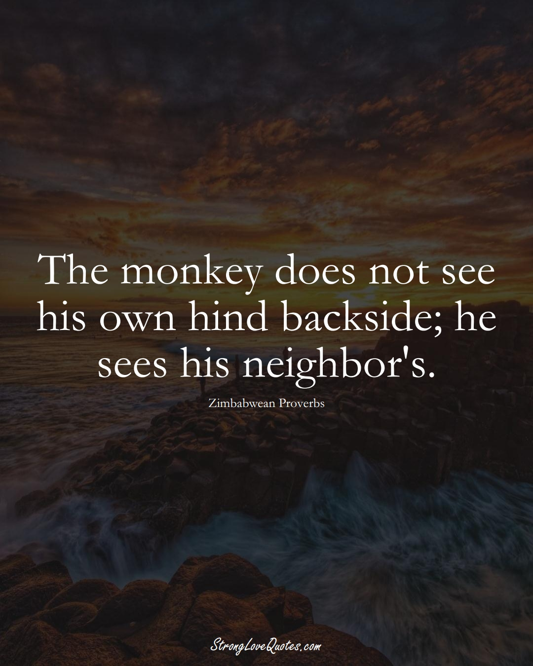 The monkey does not see his own hind backside; he sees his neighbor's. (Zimbabwean Sayings);  #AfricanSayings