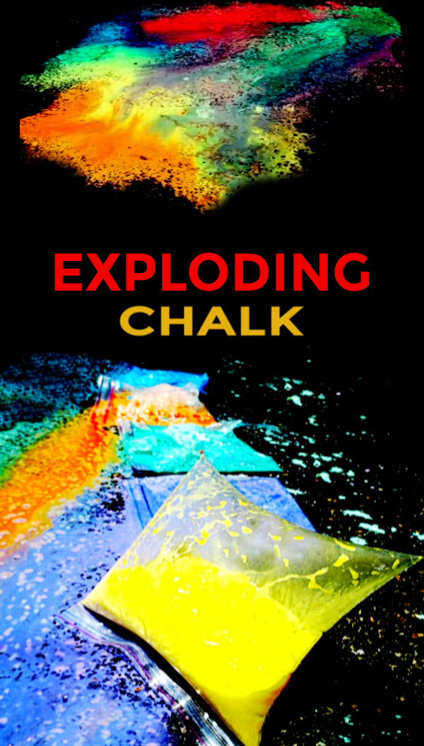Combine science and art and make chalk explode!  This baggie experiment will leave kids of all ages in awe. #explodingchalkbags #explodingchalk #explodingchalkpaint #explodingchalkrockets #eruptingchalkpaint #sidewalkchalk #sidewalkchalkrecipe #chalkart #scienceexperimentskids #growingajeweledrose #activitiesforkids