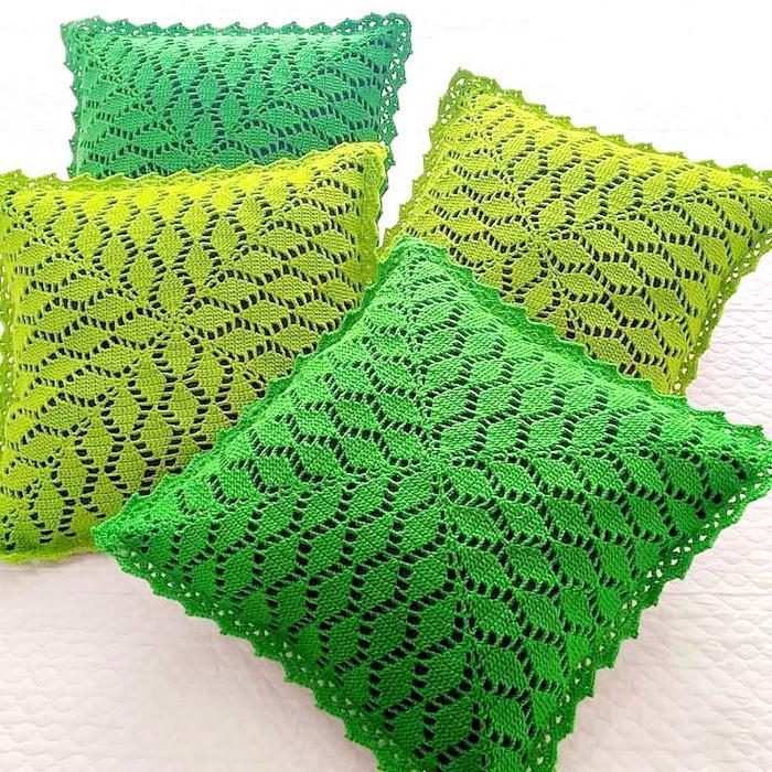 Crochet Pattern Of Square Pillow - Simple Crochet leaves