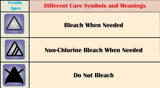 Garment Bleaching Care Symbols