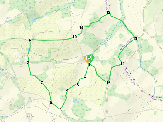 Map for Walk 14: The Woodman Loop  Created on Map Hub by Hertfordshire Walker  Elements © Thunderforest © OpenStreetMap contributors  Note: There is a larger, more-detailed map embedded at the end of these directions