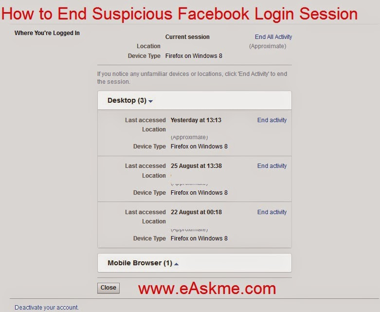 How to End Suspicious Facebook Login Session : eAskme
