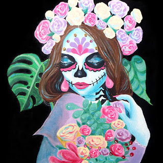 Sugar skull girl acrylic painting with rhinestones